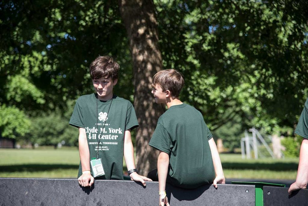 Two boys from 4-H camp on a sunny day
